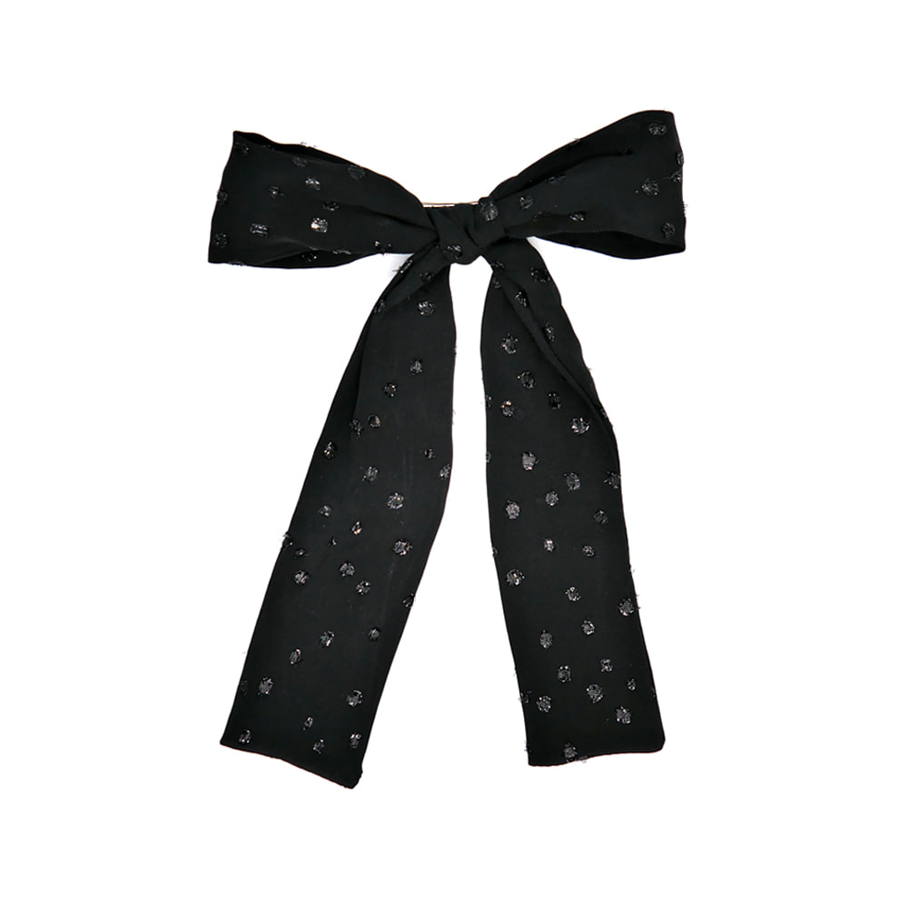 shine black ribbon hairpin