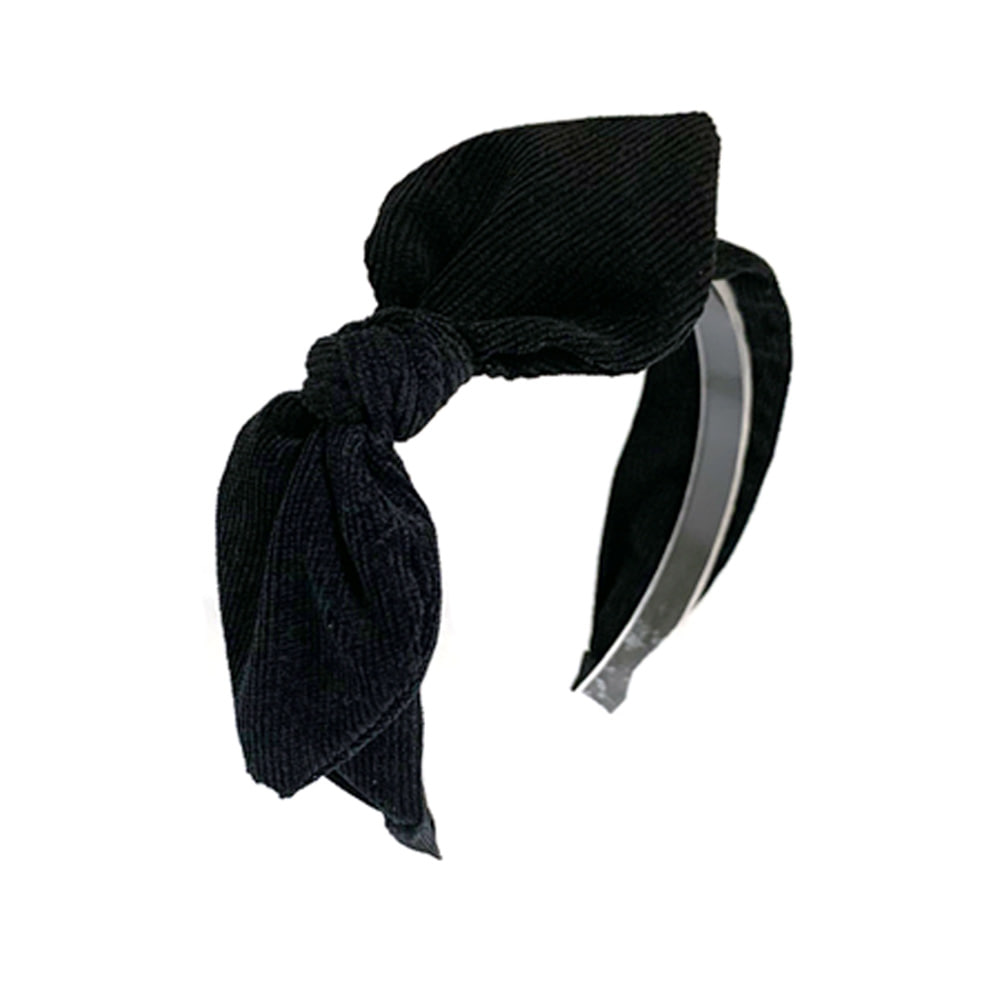 corduroy ribbon hairband (black)