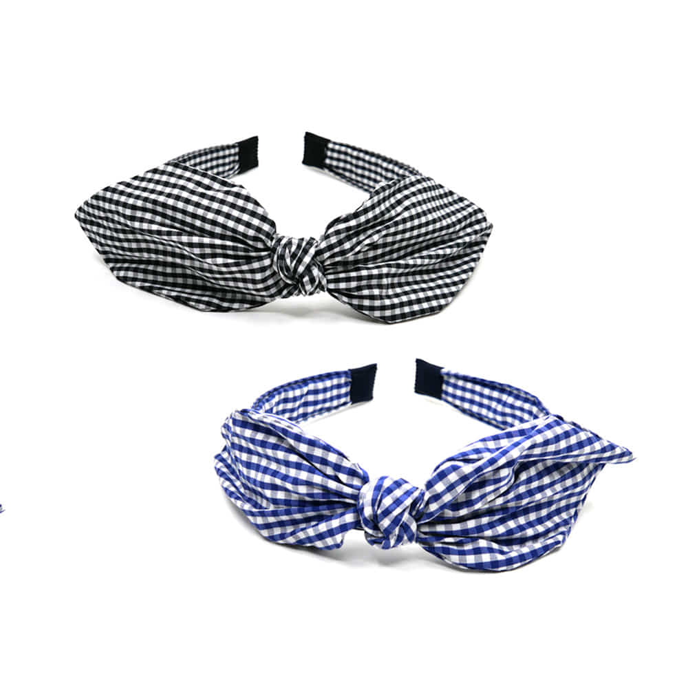 girlish check hairband (2colors)