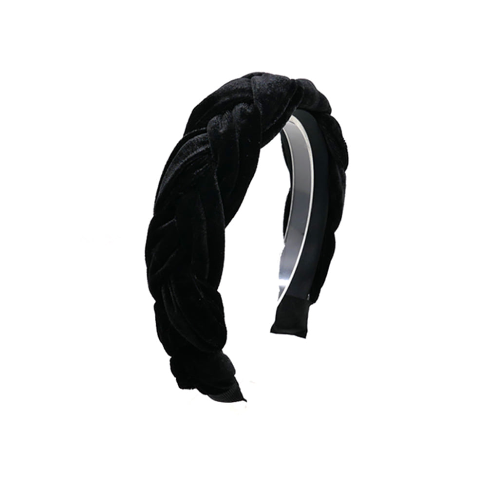 braid velvet hairband (black)